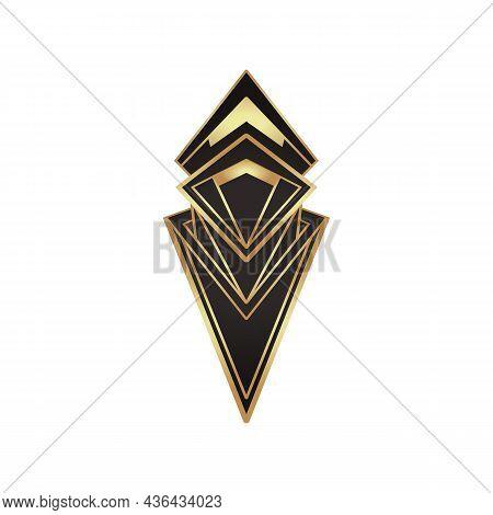 Art Deco Vintage Gold Frame In Black Over White, Design Element. Retro Party Geometric Background Se