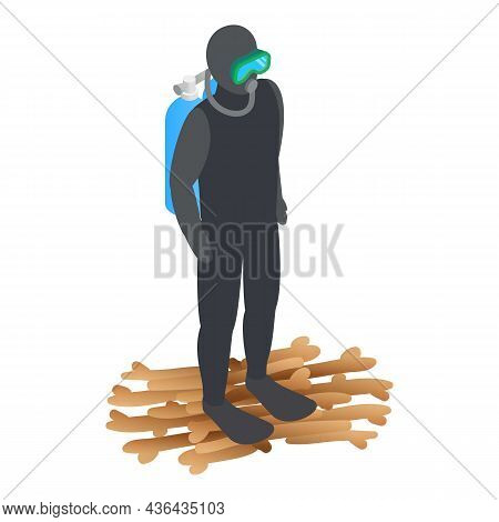 Scuba Diver Icon Isometric Vector. Human In Wetsuit With Mask And Flippers Icon. Diving, Scuba Divin
