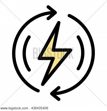 Power Energy Icon. Outline Power Energy Vector Icon Color Flat Isolated
