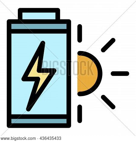 Solar Battery Icon. Outline Solar Battery Vector Icon Color Flat Isolated