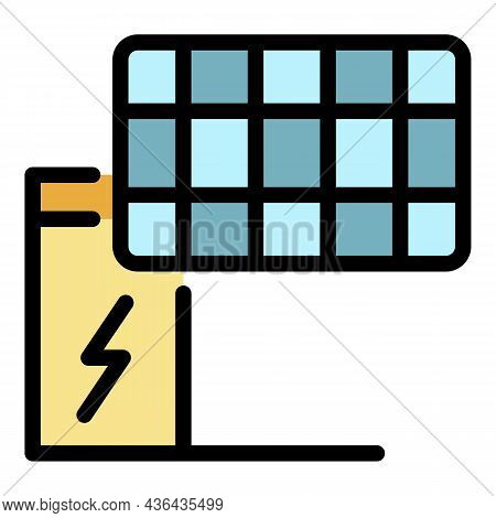 Solar Panel Energy Icon. Outline Solar Panel Energy Vector Icon Color Flat Isolated