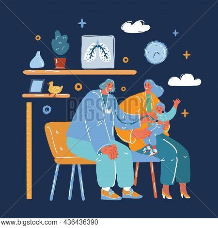 Vector Illustration Of Checkup At The Childrens Doctor. Pediatrician Examines A Sick Girl. Child Wit