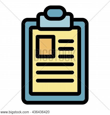 Patient Clipboard Icon. Outline Patient Clipboard Vector Icon Color Flat Isolated