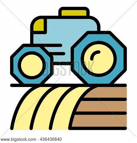 Smart Robot Tractor Icon. Outline Smart Robot Tractor Vector Icon Color Flat Isolated