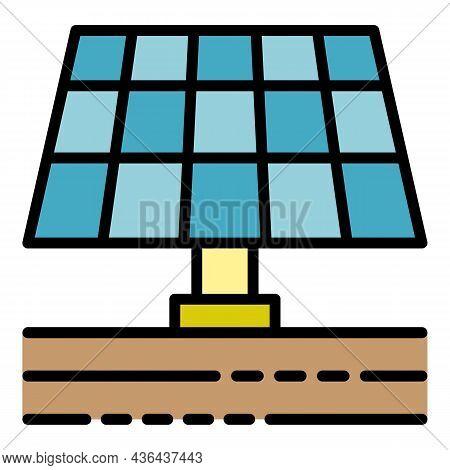 Farm Solar Panel Icon. Outline Farm Solar Panel Vector Icon Color Flat Isolated