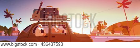 Old Family Driving In Car On Weekly Holiday Senior Travelers Couple Traveling By Active Old Age Conc
