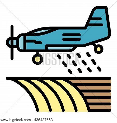 Field Plane Irrigation Icon. Outline Field Plane Irrigation Vector Icon Color Flat Isolated