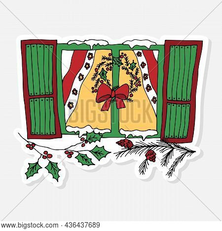 Decorated Window With Christmas Wreath, Snow, Pine Branch And Holly, Sticker Doodle For Celebration