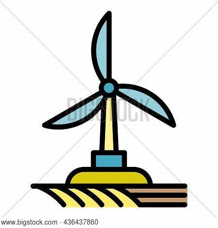 Field Wind Turbine Icon. Outline Field Wind Turbine Vector Icon Color Flat Isolated