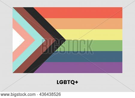 Lgbtq Plus Flag Design. Colorful Rectangle, Lesbian, Gay, Bisexual, Transgender, And Queer People Mo