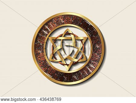 The Grand Seal Of Gold Triquetra With Triangle And Bronze Circle Logo, Luxury Metallic Frame Trinity