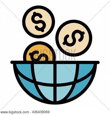 Global Money Startup Icon. Outline Global Money Startup Vector Icon Color Flat Isolated