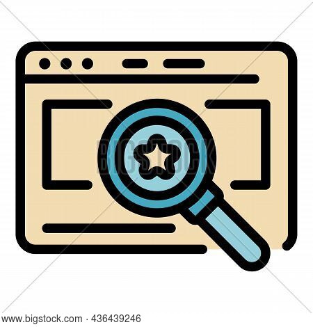 Startup Magnifier Icon. Outline Startup Magnifier Vector Icon Color Flat Isolated