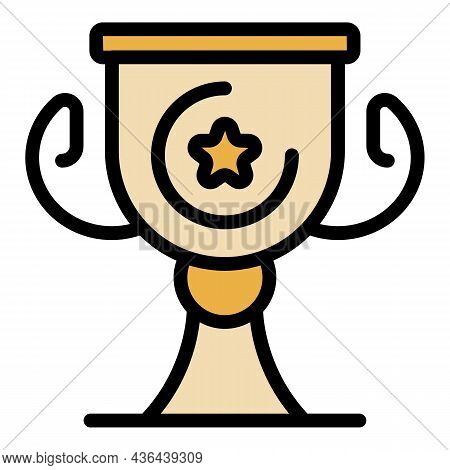 Gold Startup Cup Icon. Outline Gold Startup Cup Vector Icon Color Flat Isolated
