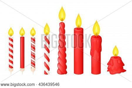 Red Wax Candles With Flame In Different Stages Of Burn, Twisted And Striped. Vector Cartoon Set Of P