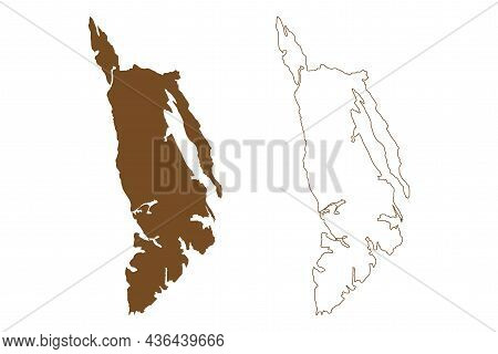 Admiralty Island (united States Of America, North America, Alaska, Us, Usa) Map Vector Illustration,