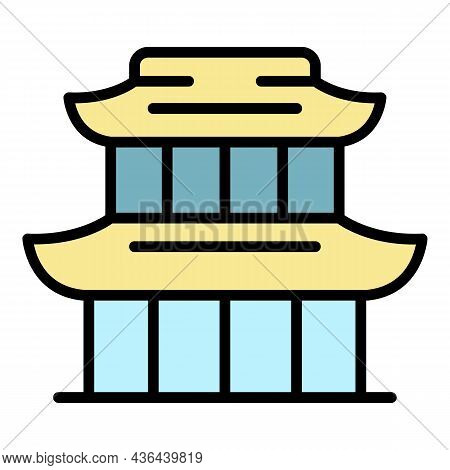 China Exhibition Building Icon. Outline China Exhibition Building Vector Icon Color Flat Isolated