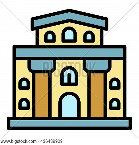 Architectural Building Icon. Outline Architectural Building Vector Icon Color Flat Isolated