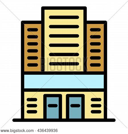 Expo Building Icon. Outline Expo Building Vector Icon Color Flat Isolated
