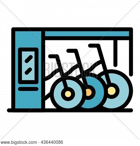 City Bike Rent Icon. Outline City Bike Rent Vector Icon Color Flat Isolated