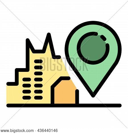 City Pin Map Rent Bike Icon. Outline City Pin Map Rent Bike Vector Icon Color Flat Isolated