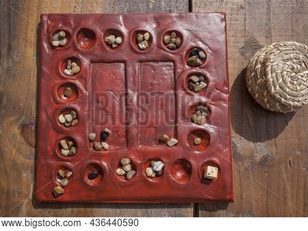 Reconstruction Of Roman Board Game Tabula Lusoria. Private Recreational Activity Of Ancient Romans