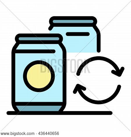 Recycling Tin Can Icon. Outline Recycling Tin Can Vector Icon Color Flat Isolated