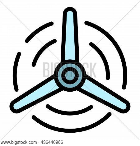 Eco Air Fan Icon. Outline Eco Air Fan Vector Icon Color Flat Isolated