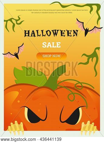 Vector Themed Banner For The Halloween Holiday With An Evil Pumpkin That Looks Out From Below