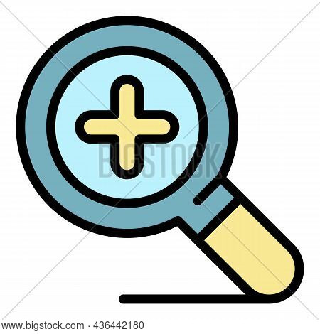 Zoom Magnifier Icon. Outline Zoom Magnifier Vector Icon Color Flat Isolated