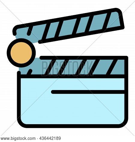 Video Clip Maker Icon. Outline Video Clip Maker Vector Icon Color Flat Isolated