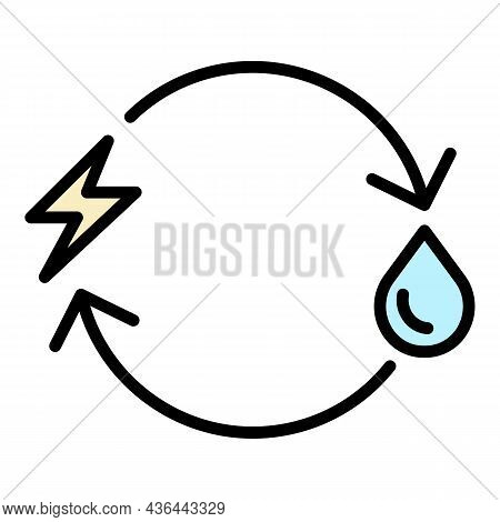 Eco Fuel Replacement Icon. Outline Eco Fuel Replacement Vector Icon Color Flat Isolated
