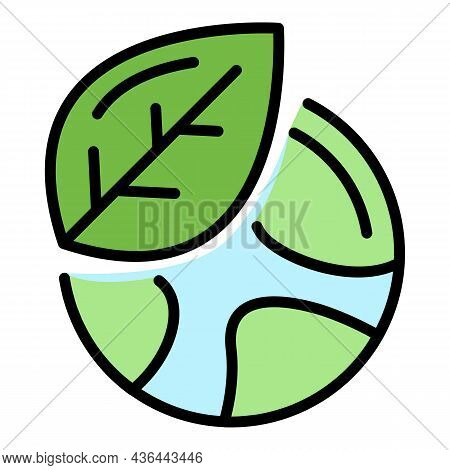 Car Steering Wheel And Leaf Icon. Outline Car Steering Wheel And Leaf Vector Icon Color Flat Isolate