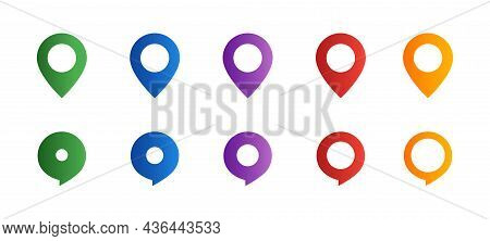 Location Pointers Collection. Location Pointer Icon Set. Map Pins Set. Gps Navigation Pointer. Navig