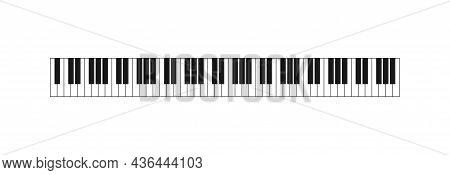 Music Piano Keyboard 88 Keys Isolated On White Background. Vector Illustration.