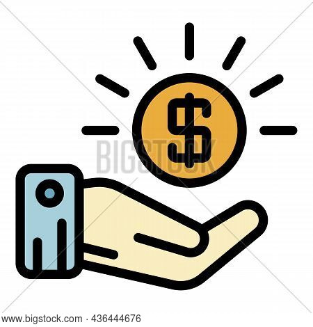 Coin And Palm Icon. Outline Coin And Palm Vector Icon Color Flat Isolated