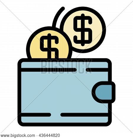 Wallet And Coins Icon. Outline Wallet And Coins Vector Icon Color Flat Isolated