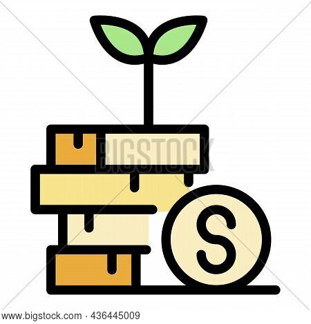Sprout From A Stack Of Coins Icon. Outline Sprout From A Stack Of Coins Vector Icon Color Flat Isola
