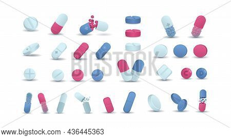 Pharmacy. Cartoon Medicine Drugs. Antibiotic And Medical Prescription Pills. Round Pharmacology Cure