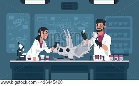 Scientists With Fossil In Lab. Archeology And Paleontology Explorers Examining Prehistoric Bone. Man