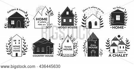 Home Doodle Logo. Hand Drawn Country Wooden House With Garden. Rental Village Chalet And Town Cottag