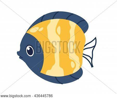 Cartoon Flounder Fish. Cute Marine Animal. Yellow Striped Pet Swimming In Water. Aquarium Or Ocean U