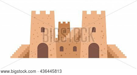 Cartoon Sand Castle. Beach Recreation. Sandy Fortification Construction With Towers And Stairs. Summ