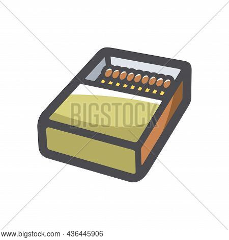 Matchbox And Matches Vector Icon Cartoon Illustration