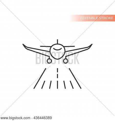Airplane Runway Line Vector Icon. Outline, Editable Stroke.