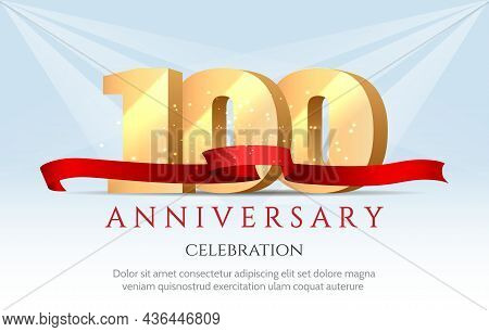 Birthday 100 Poster. Anniversary Hundred Years 3d Gold Numbers Celebrating Vector Background, Colour