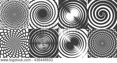Hypnotic Swirl Symbols. Round Spirals Spins Swirls Whirlpools Vortexes Simple Sketch Vector Icons, H