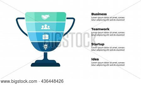 Winner Cup. Success Infographic. Presentation Slide Template. Diagram Chart With 4 Steps, Processes.