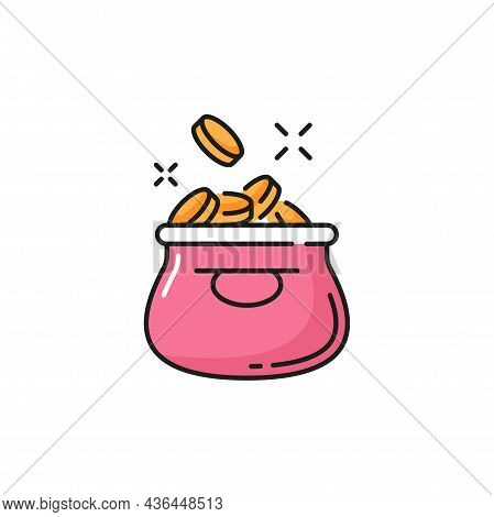 Sack Of Money, Jar With Savings, Pink Moneybag With Golden Coins Isolated. Vector Coins Or Cash, Fin