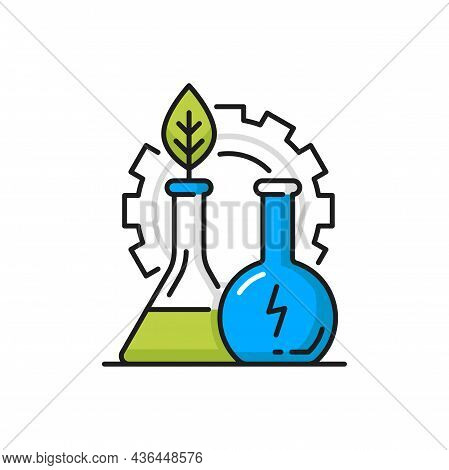 Environment And Clean Green Energy Line Icon. Vector Flask With Biomass Energy, Eco Friendly Chemica